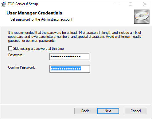 Setting Administrator user password during install
