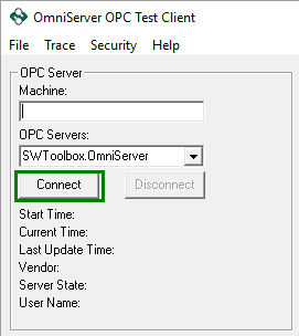 Connecting to OmniServer with OPC Test Client