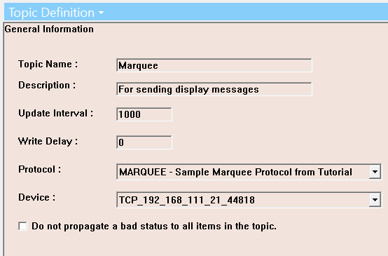 OmniServer Topic for Marquee communications