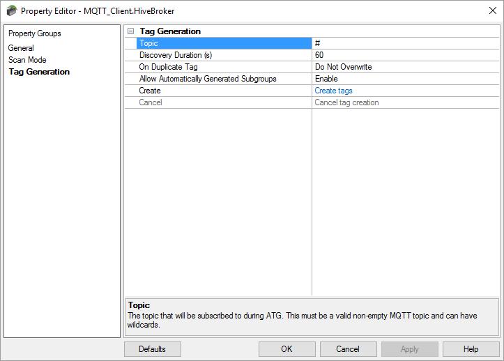 Auto Tag Generation for MQTT Client