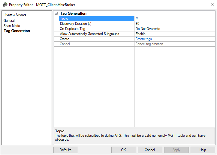 Auto Tag Generation for MQTT Client