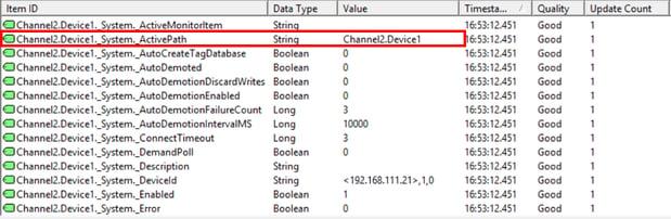 TOP Server-Active Path