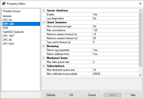 Screenshot - TOP Server OPC UA Project Properties