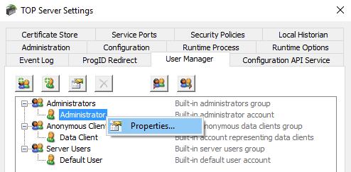 Screenshot - Adding TOP Server Administrator Password Later