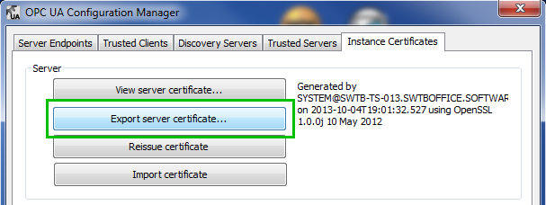 Exporting TOP Server OPC UA Server Certificate