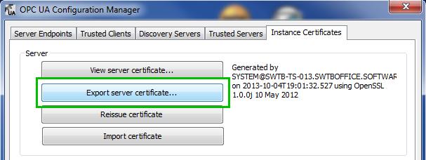 Exporting TOP Server OPC UA Server Certificate