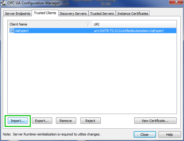 TOP Server Importing OPC UA Client Certificate