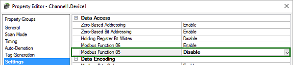 Using Modbus Function Code 15 Only in TOP Server