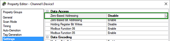 Using Modbus One-Based Addressing in TOP Server