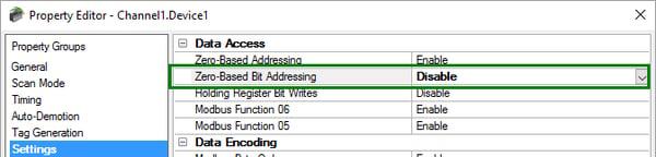 Using Modbus One-Based Bit Addressing in TOP Server