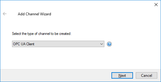 Screenshot - UA Client Driver Selection