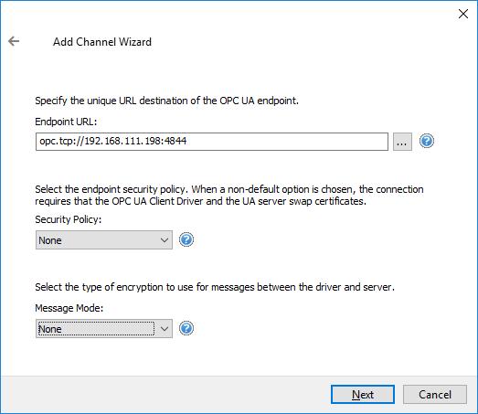 Screenshot - Defining S7-1500 UA Server Endpoint in TOP Server