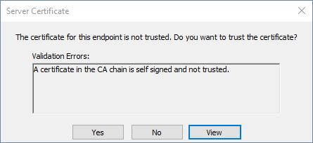 Screenshot - UA Security Prompt to Trust Server Certificate