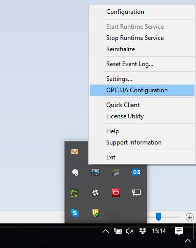 Screenshot - TOP Server OPC UA Configuration menu