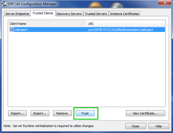 TOP Server Trusting Failed OPC UA Client Connection