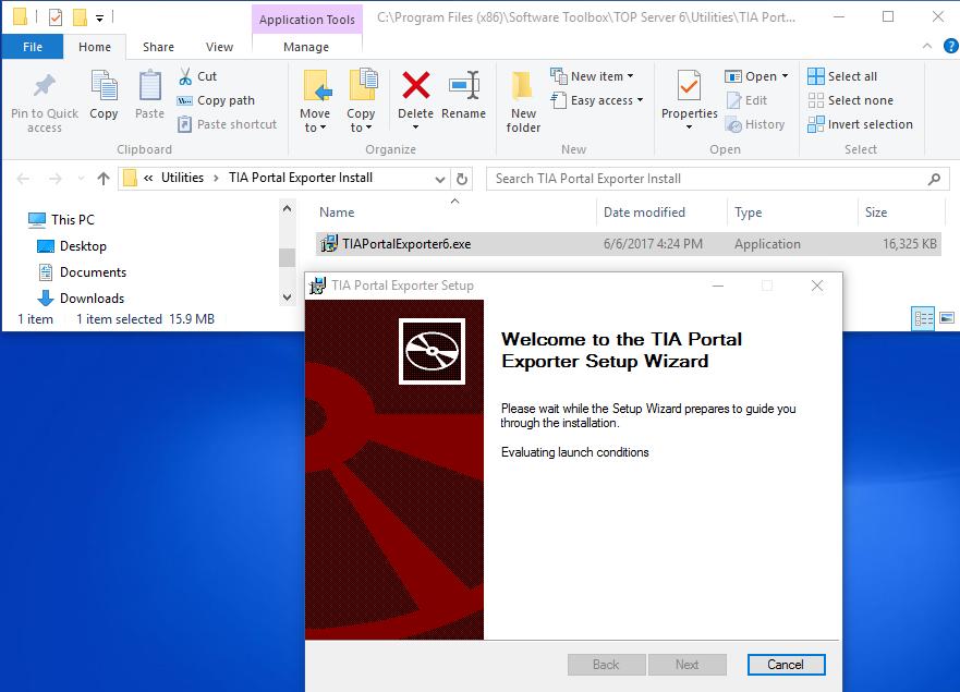 Installing the TIA Portal Exporter Utility