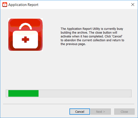 Screenshot - Application Report Utility Progress Window