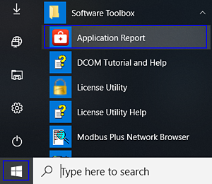 Screenshot - Launching Application Report Utility