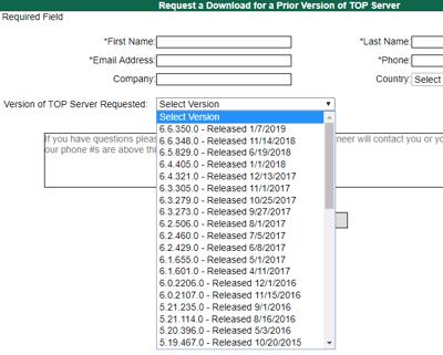 Screenshot - TOP Server Installer Versions Downloads