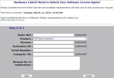 Screenshot - TOP Server Re-Registration Website Step 2