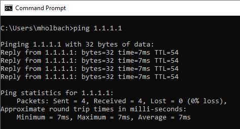 Screenshot - Using Ping Command