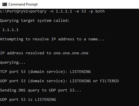 Screenshot - Using Portqry Utility against DNS Server
