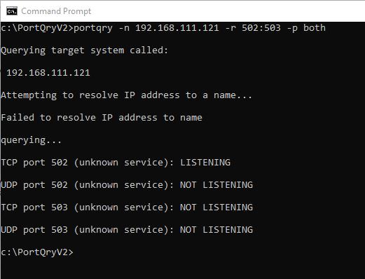 Screenshot - Using Portqry against Modbus device