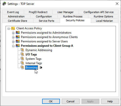 Screenshot - Security Policies - Client Access Policies