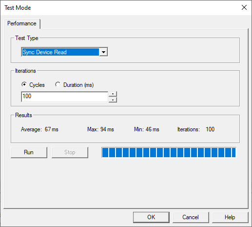 Screenshot - Performance Testing in OPC Quick Client