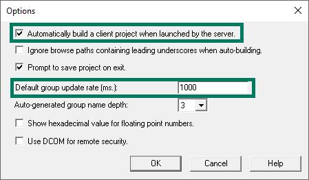 Screenshot - OPC Quick Client Tools > Options Settings